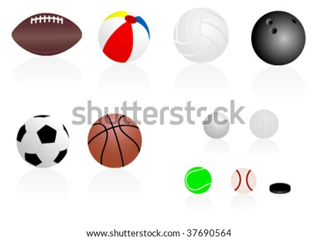 Set of detailed sport balls with reflection, isolated on white background