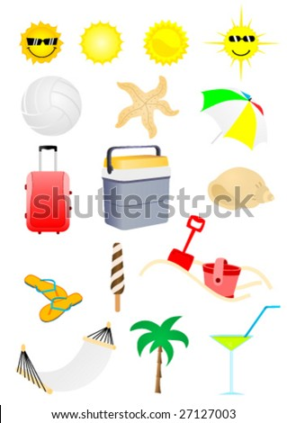 Set of detailed summer holiday elements - stock vector