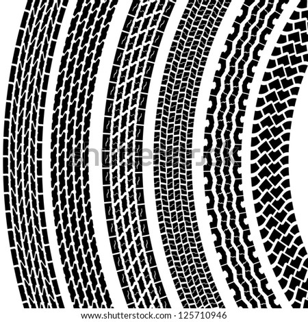 Set of detailed tire prints, vector illustration - stock vector