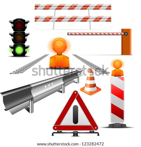 set of detailed traffic and construction illustrations isolated on white - stock vector