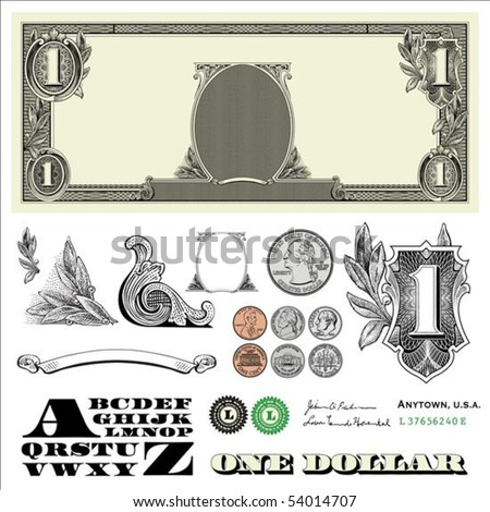Set of detailed vector ornaments loosely based off a one dollar bill, includes vector illustrations of coins: quarter, nickel, dime, and penny - stock vector