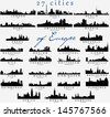 Set of Detailed vector silhouettes of European cities - stock