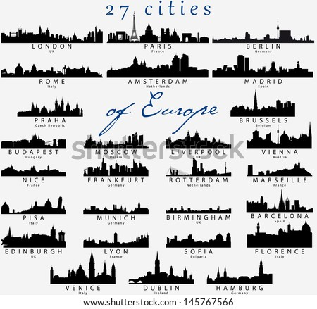 Set of Detailed vector silhouettes of European cities - stock vector