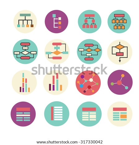 Set of diagram, block scheme, chart icons. Vector simple colorful icon in modern flat style.