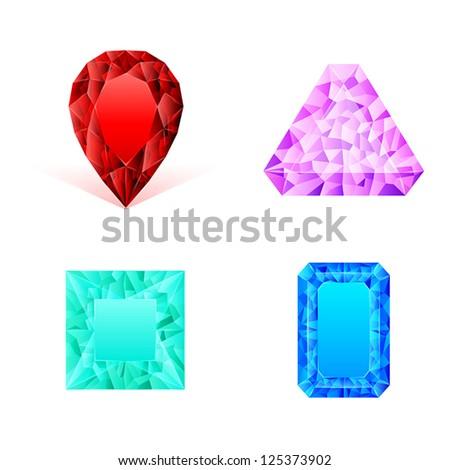 Set of diamonds - stock vector