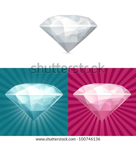 Set of diamonds in 3 colors - stock vector