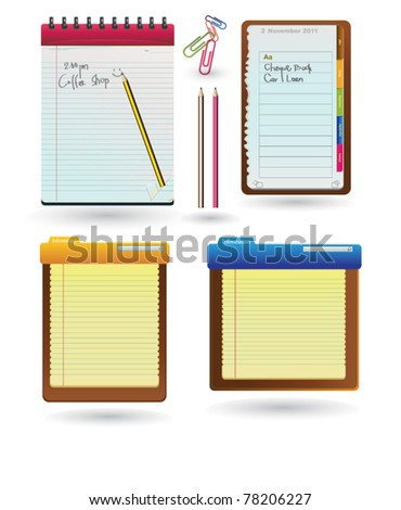 Set Of Diary book, Notebooks With Colored Tabs And Lined Pages, With Pencils - stock vector
