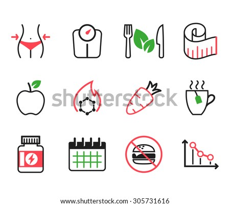 Set of diet icons - stock vector
