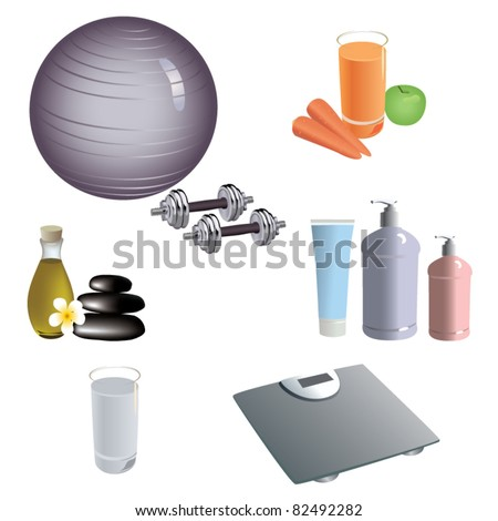 set of dietary and healthy lifestyle icons. vector - stock vector