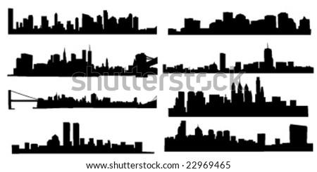 set of 8 diferens skylines of new york, boston and pfiladelphia - stock vector