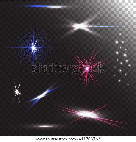 Set of different abstract lens flares on transparent background. Group of light effects. Design elements in vector - stock vector