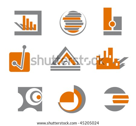 Set of different abstract symbols for design - also as emblem or logo template. Jpeg version is also available - stock vector