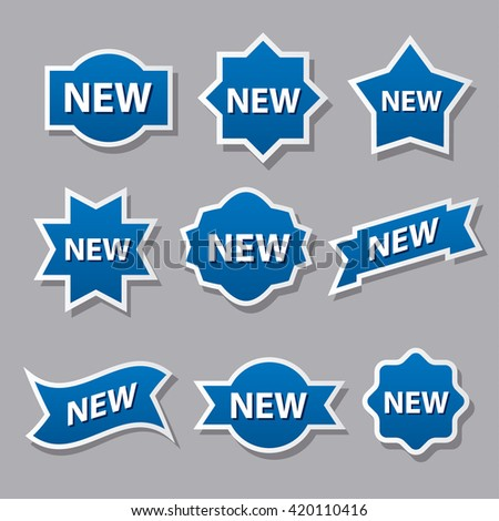 set of different advertising badges and stickers in blue color