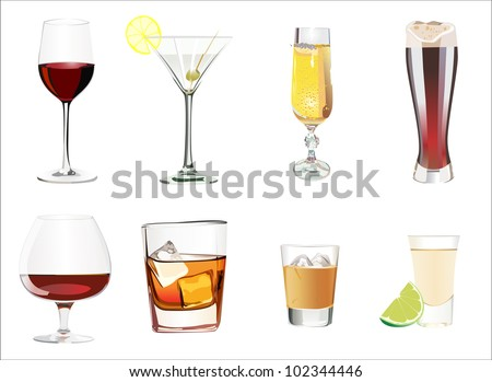 Set of different alcoholic cocktails isolated on white background - stock vector