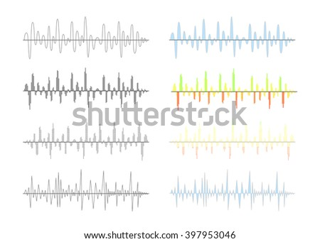 Set of different analog and digital signal waves graphs isolated on white - stock vector