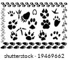 set of different animal and bird footsteps vector illustration - stock vector