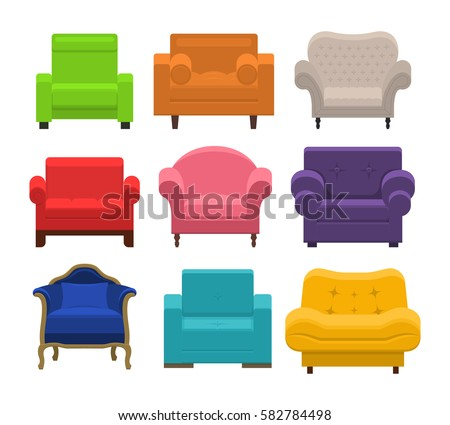 Lovely Set Different Armchairs Collection Types Seating Stock Photo (Photo,  Vector, Illustration) 582784498   Shutterstock
