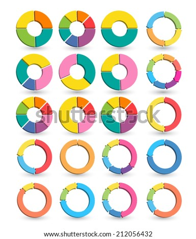 Set of Different arrow circles isolated on the white with shadows. Vector illustration. Can use for printing and web. - stock vector