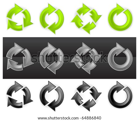 Set of different arrows circles isolated on the white, vector illustration - stock vector