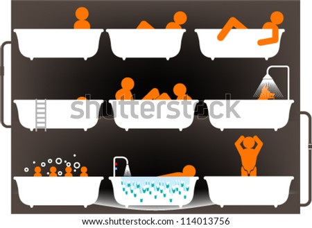 Set of different bath scenes - stock vector
