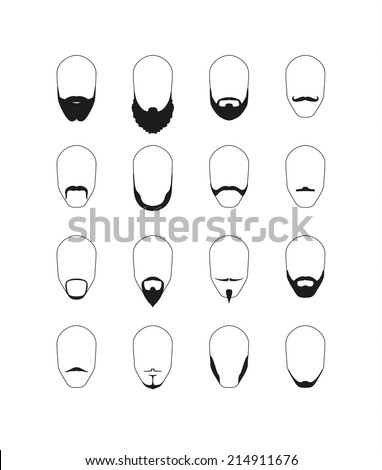 Set of 16 different beard and mustache styles. Vector image. - stock vector