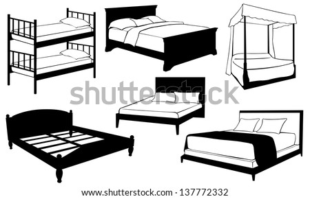 set of different beds - stock vector