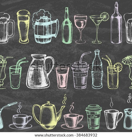 Set of different beverages. Hand drawn colored illustration on the blackboard. Retro vintage style. Seamless background. Vector illustration. - stock vector