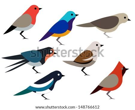 Set of different birds - stock vector