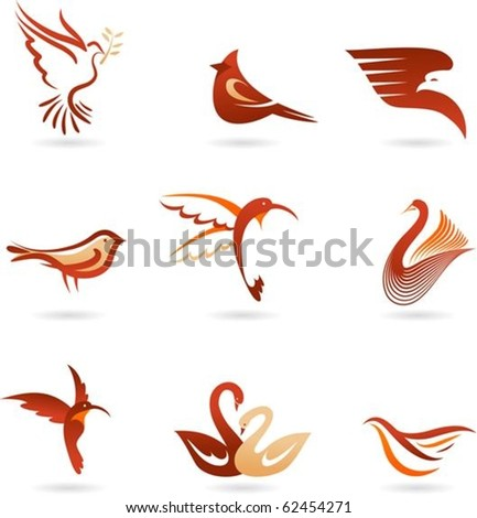 Set of different birds icons - stock vector