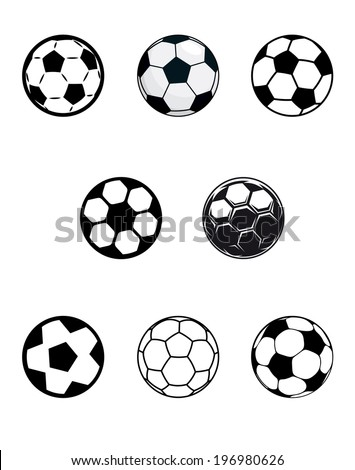 Set of different black and white soccer or football balls with a variety of pentagonal logo patterns, isolated on white background - stock vector