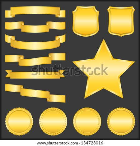 Set of different blank golden ribbons, shields, stars and badges, vector eps10 illustration - stock vector