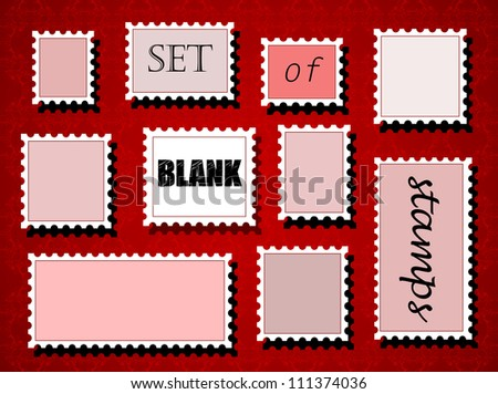 Set of different blank post stamps on red background. EPS10 vector - stock vector