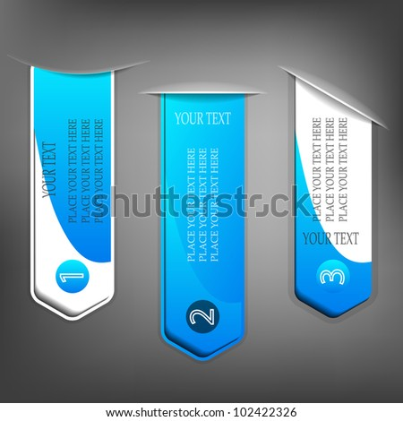 Set of different blue tags with space for text - stock vector