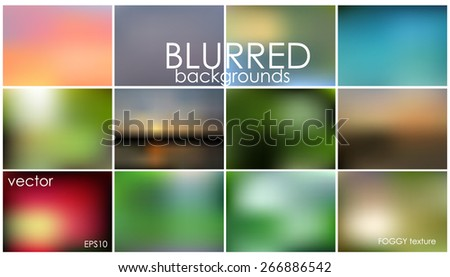 Set of 12 different blurred backgrounds. vecto reps10. Set No.17 - stock vector