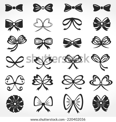 Set of different bows icons, vector eps10 illustration - stock vector