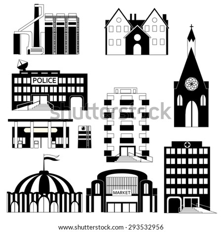 black and white apartment building clip art. Set of different buildings in black and white colors  Circus church factory Colorful Simple Buildings Isolated On Stock Vector 294925604
