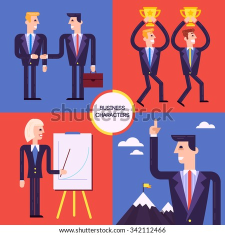 Set of different business characters, winners men, woman at the chart, successful businessman, negotiating partners. Fully editable vector illustration. - stock vector