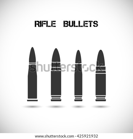 Set of different caliber bullets. Ammunition, guns, military. Handguns and rifle bullets vector illustration.