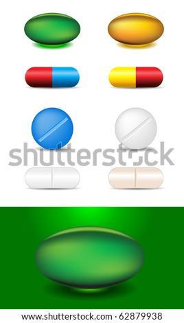 set of different capsules and medicines - stock vector