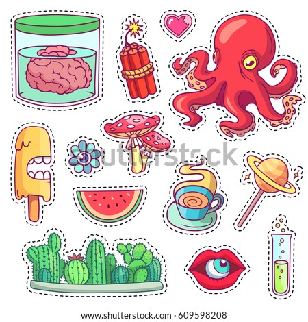 Set of different cartoon elements for print in vector crazy fun stickers pins and