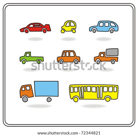 set of different cartoon simple bright cars