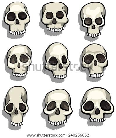 Set of different cartoon skulls, vector illustration - stock vector
