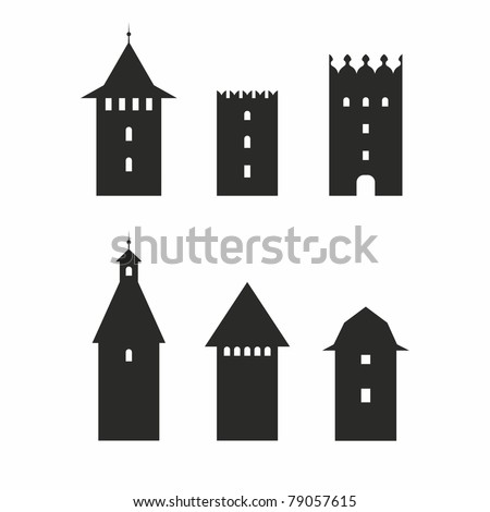set of different castle towers