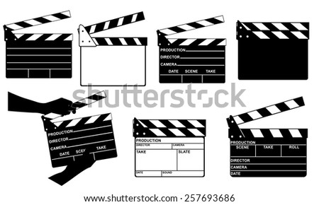 set of different clapperboards isolated on white - stock vector