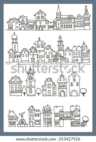Set of different color and shape old houses. Facades of houses in the traditional Dutch style. Illustration of the black and white, Sketch, hand drawn with ink.  - stock vector