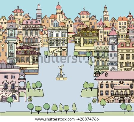 Set of different color and shape old houses. Facades of variegated buildings.Set of vintage facades.Sketch, hand drawn,cartoon style.Square with a fountain European city - stock vector