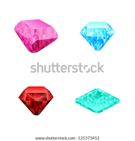 set of different color diamonds - stock vector