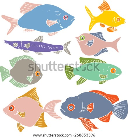 set of different color fishes, flat fishes, silhouettes of fishes, hand drawn design elements - stock vector