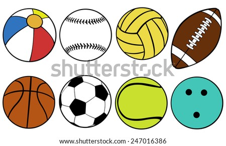 set of different color game balls - stock vector