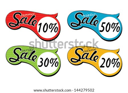Set of different color sale tags.